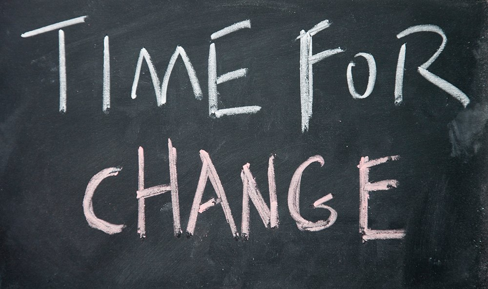 image of a chalk board with 'time for change' written on it